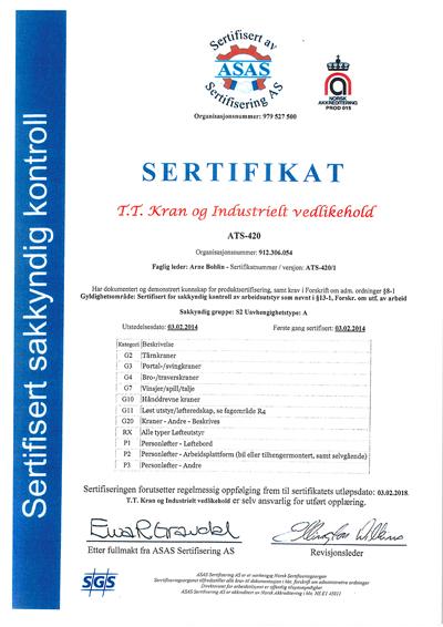 T. T. Kran og industrielt vedlikehold AS er sertifisert av ASAS på så godt som alle aktuelle områder i markedet, og faglig leder er Arne Bohlin.