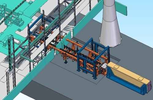 Prinsippskisse for det nye varmechargeringsbygget vest for valseverket. Illustrasjon: Tim Bredesen.