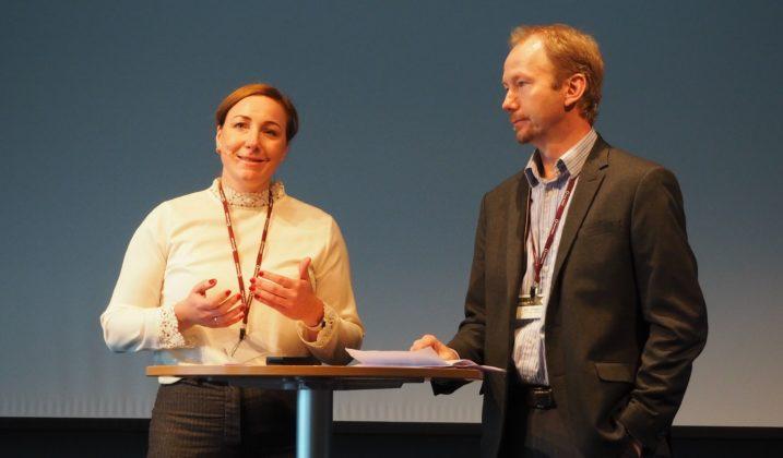 Bærekratfsjef i Celsa Nordic, Susanne Nævermo Sand og Geir Vollsæter, spesialrådgiver i Industri Energi holdt innlegg sammen på konferansen om hvordan de grønne arbeidsplassen i Norge verdsettes.