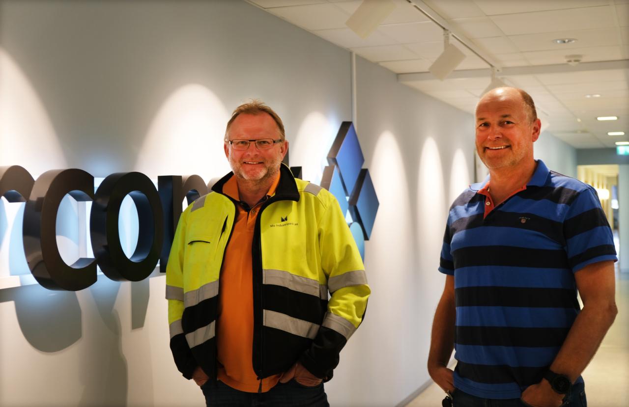 Dag Storholm i MIP Eiendom og Morten Rimer i Norconsult er begge fornøyd med de nye lokalene.