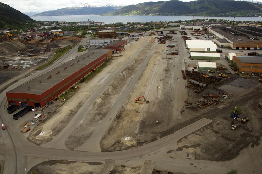 Sentraltomta i Mo Industripark, der rørene skal lagres.