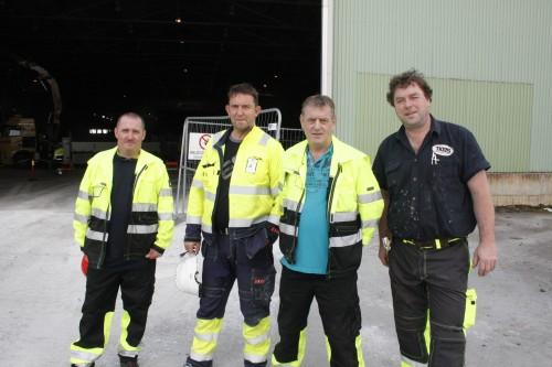 De følger prosjektets utvikling nøye, fra venstre: Wayne Marshall fra TKPS, prosjektleder Børge Henriksen fra Momek  Civil AS, Henk Nijmeijer fra Wasco Coatings Norway AS, og project manager Gerco Weeink fra TKPS.