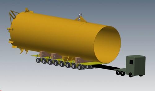 Illustrasjon av transport av ett sugeanker, på spesialhengeren. Tegningene er laget av Torstein Myhre ved Momek Fabrication AS