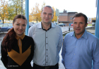 -Vi kan lære mye av hvordan dere har organisert virksomheten i Mo Industripark, mener Igor Rogachev fra Bor i Russland (i midten). Her sammen med Yanina Unnli, prosjektmedarbeider for NHOs presidentprogram og daglig leder Thoralf Lian i Inkubator Helgeland.