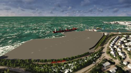 -På dette bilde ser man hvordan en ny dypvannskai vil se ut, samt beliggenheten. Området som er valgt gir mulighet for store bakområder. Det er direkte tilknytning til industriparken gjennom tungtransportveien. Det er nærhet til både E 6 og NSB.