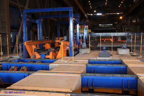 """The picture shows the facility in the Steelworks where the hot blanks are inserted in thermal boxes. The thermal boxes are inserted to the right and removed to the left of the picture. """"After a running-in period, we will be good for operations in the autumn,"""" says Føinum."""