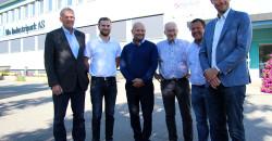 Senterpartiets nestleder Ola Borten Moe besøkte Mo Industripark AS og Inkubator Helgeland AS. Fra venstre: Johan Petter Røssvoll, Willfred Nordlund, Arve Ulriksen, Jan Erik Svensson, Thoralf Lian og Ola Borten Moe.