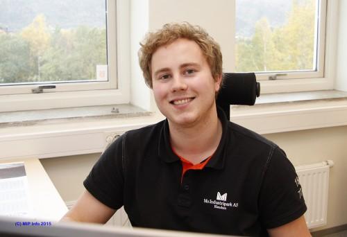 Sindre Rosting, trainee ved avdeling MIP Eiendom, Mo Industripark AS.