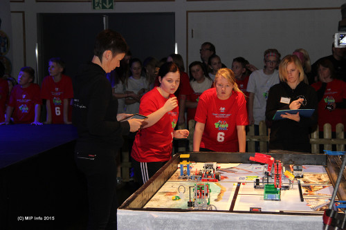Jenteteamet fra Korgen Lego Locos ved bordet. Dommerne Hilde Sandstedt (t.v.) og Annfrid Olsen følger nøye med.